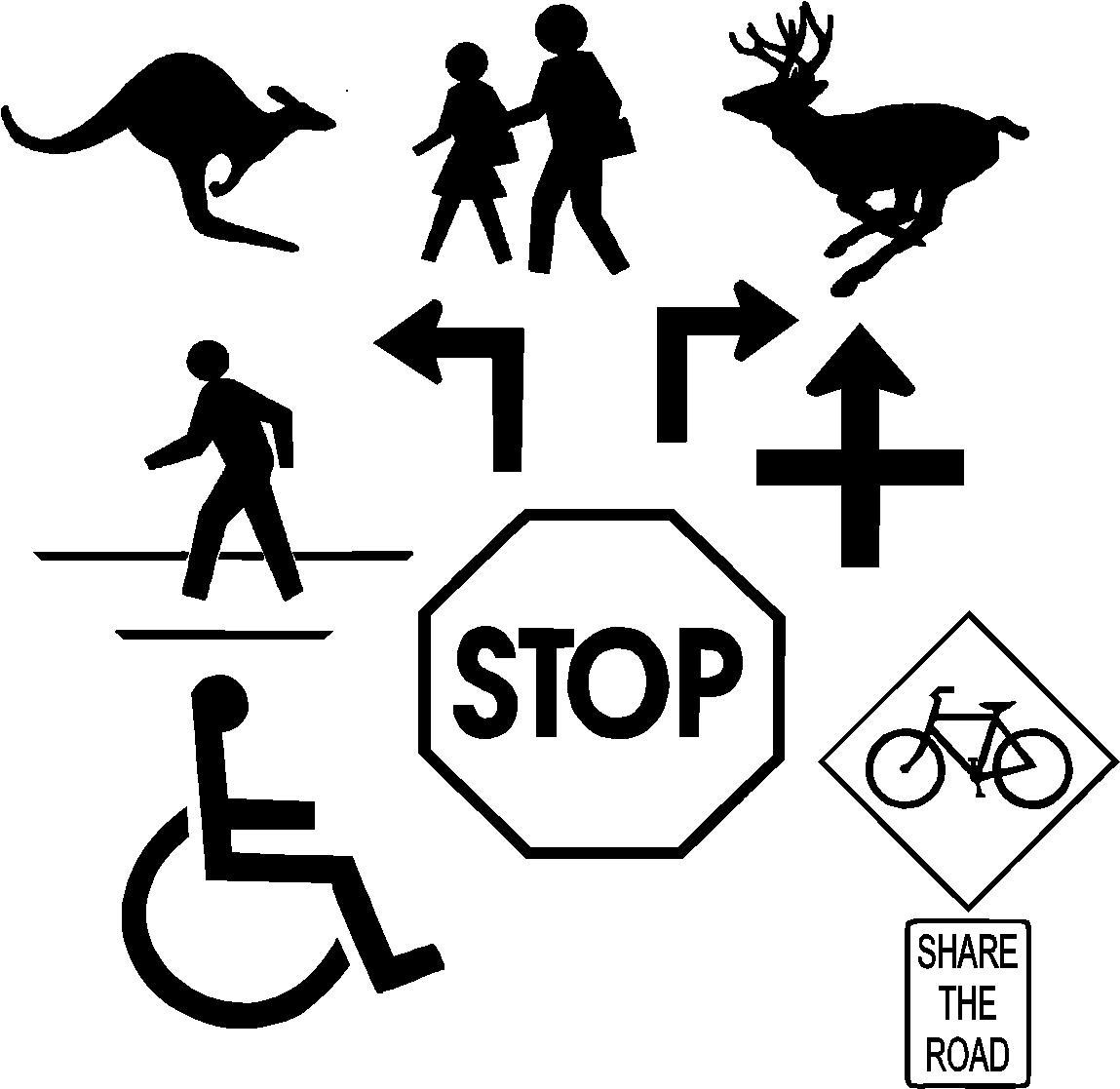Free Street Stop Sign And Handicap Logo Vector Clip