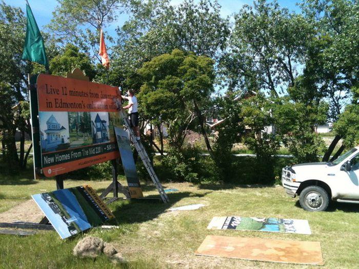 Sherwood Park Sign Installation