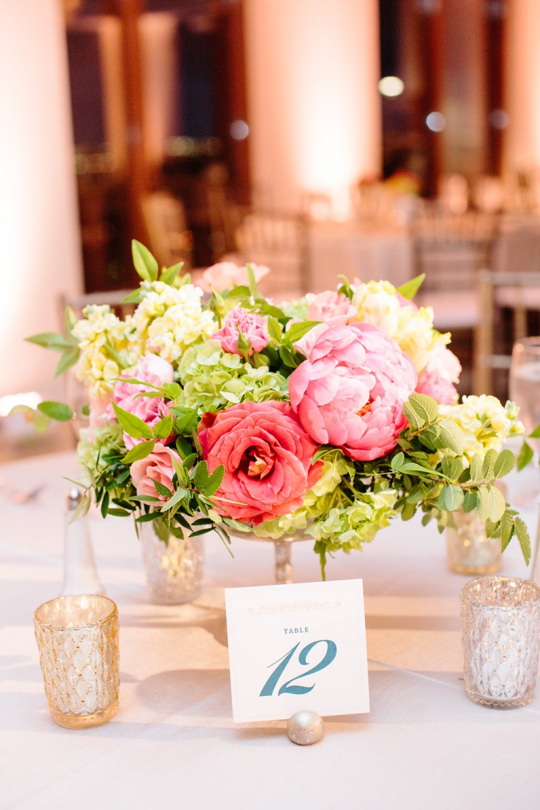 Peach And Gold Wedding Centerpieces