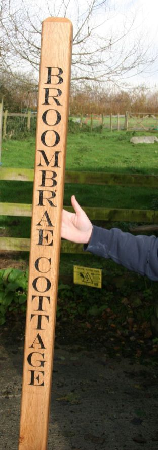 Oak Post with lettering etched on post