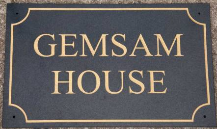 Granite house sign with line boarder