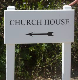 Painted Oak Sign on posts