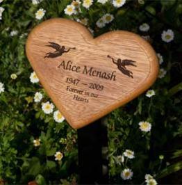 Heart shaped Wood on Metal Tree stake