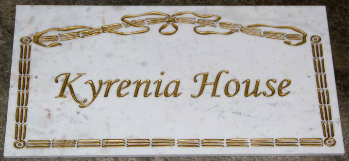 House name plate using carrara marble. Font Monotype corsiva. Border B232. ref - 1310.SS.028