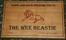 An oak plaque which was lasered and the painted with two colours. http://www.sign-maker.net/wooden/oak-carved-signs.html