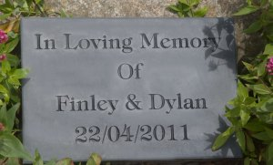 Slate memorial with black letters