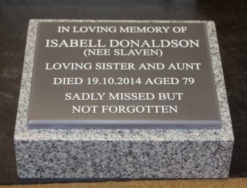 Granite wedge with 12mm Corian Plaque
