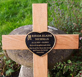 Cast Bronze Memorial on Cross