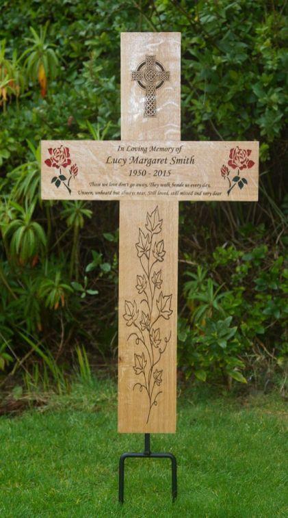 Engraved Mega Wooden Memorial Cross