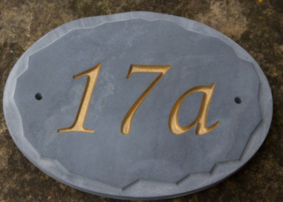 Oval Slate with random edge border Number