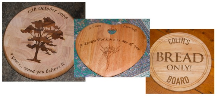 Images of personalised chopping boards.