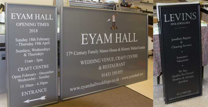 Aluminium business signs with a border