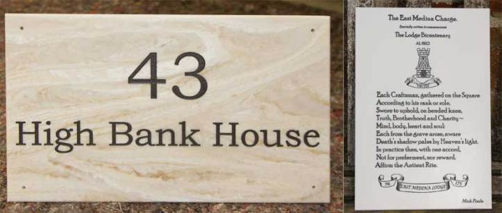 Corian plaques and house signs by The Sign Maker, North Devon