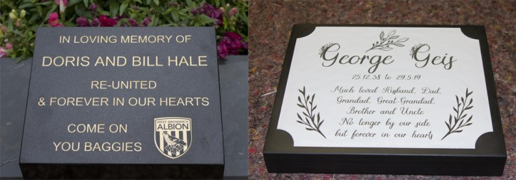 Laser etch also works well for memorials.