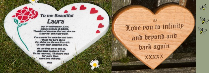Corian or wooden hearts with a personalised message for valentines made by The Sign Maker.