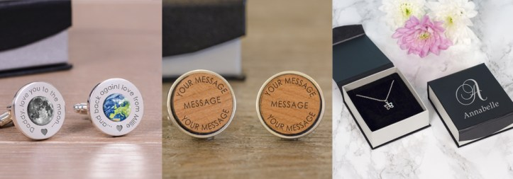 Personalised cuff links and necklaces from The Sign Maker.