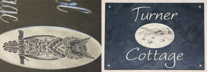 Detailed images on stone signs made at The Sign Maker, North Devon.
