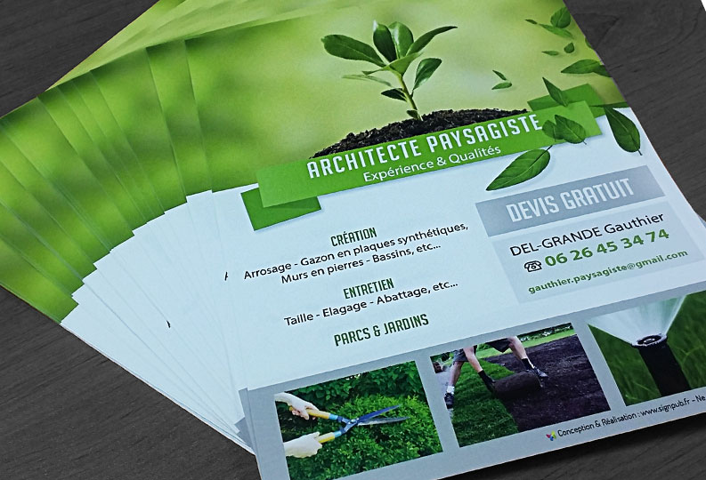 Flyers a5 promotion signpub for Offre architecte paysagiste