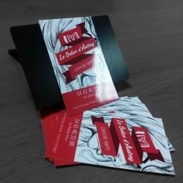 Cartes de visite impression en quadri avec pelliculage brillant et impression recto/verso