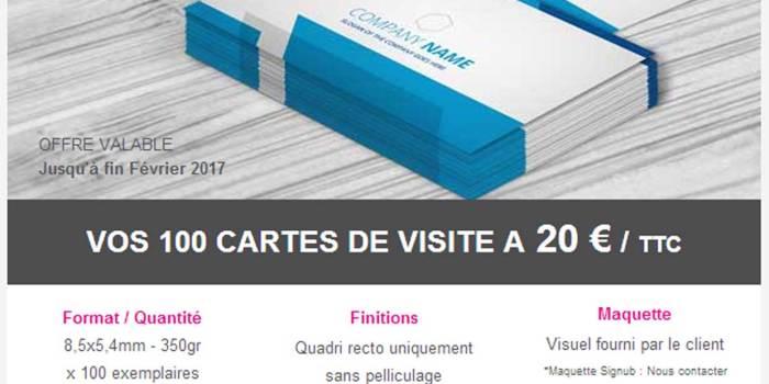 Promotion Carte De Visites 20 Euros