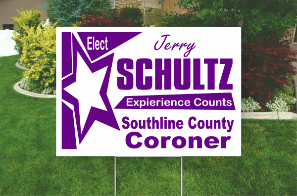 Example of a one color yard sign. purple