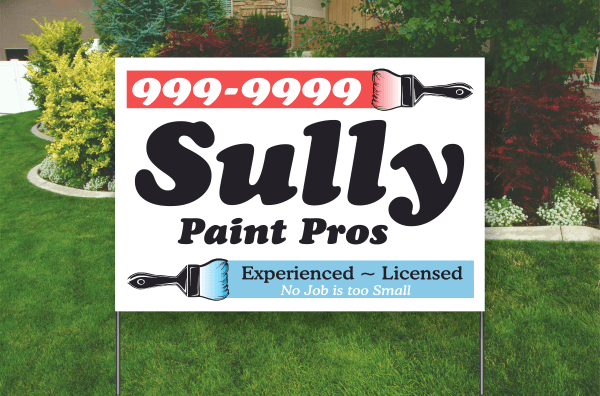 Example of a 18 by 24 inch. Full color poly sleeve yard sign, bag sign