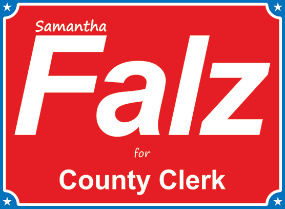 Example of a Two Color Yard Sign. Blue and Red.