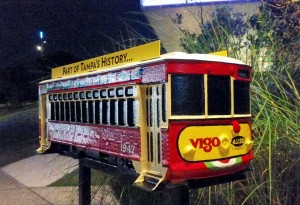 Vigo & Alessi Streetcar in front of the Tampa Museum of Art.