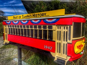 Vigo & Alessi Streetcar in front of the Tampa Museum of Art.