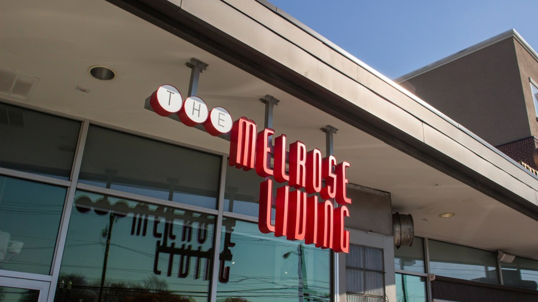 The Melrose Living outdoor sign