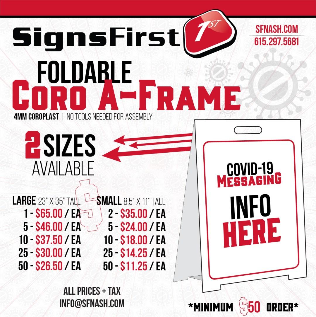 Covid 19 Foldable A-Frame