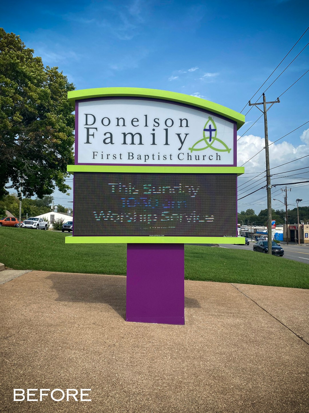 Donelson First Baptist_Monument_before