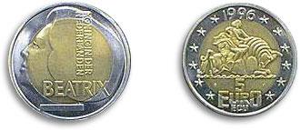 1996 5 Euro Coin Europa Riding The Bull