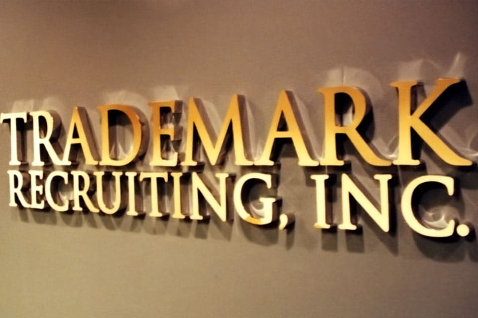 Lobby Sign with Dimensional Routed Letters Mirrored Gold Finish