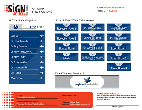 Approval Sheet for toronto directional signs