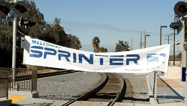 Sprinter ceremonial break-through banner