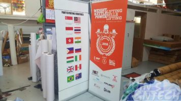 2 x 0.85m roll up banners for exhibition