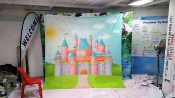 2.5 x 2.6m Fabric banner with Castle picture for photo booth backdrop