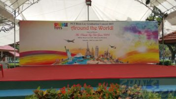 Event backdrop with around the world design theme