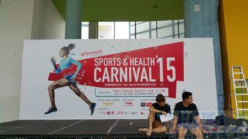 Temasek Poly 24 x 10ft stage backdrop for sports and health carnival