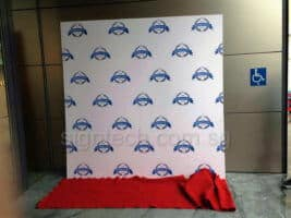 disposable foam board backdrop with red carpet