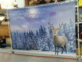 Portable Backdrop stand with 3x 2.24m PVC banner