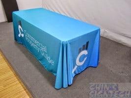 Custom Table cloth printed cyan
