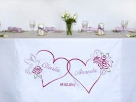 table runer for wedding with 2 hearts