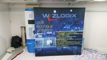 2.25 x 2.25m Fabric Pop Up Display for Wizlogix with electronic design