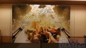 12 x 8ft event stage backdrop with champagne design