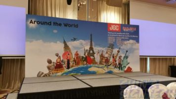 18 x 8ft JGC Dinner and dance stage backdrop with around the world design
