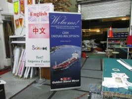 clip pole banner stand with 2 x 1m PVC banner