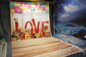 photography studio with fabric background