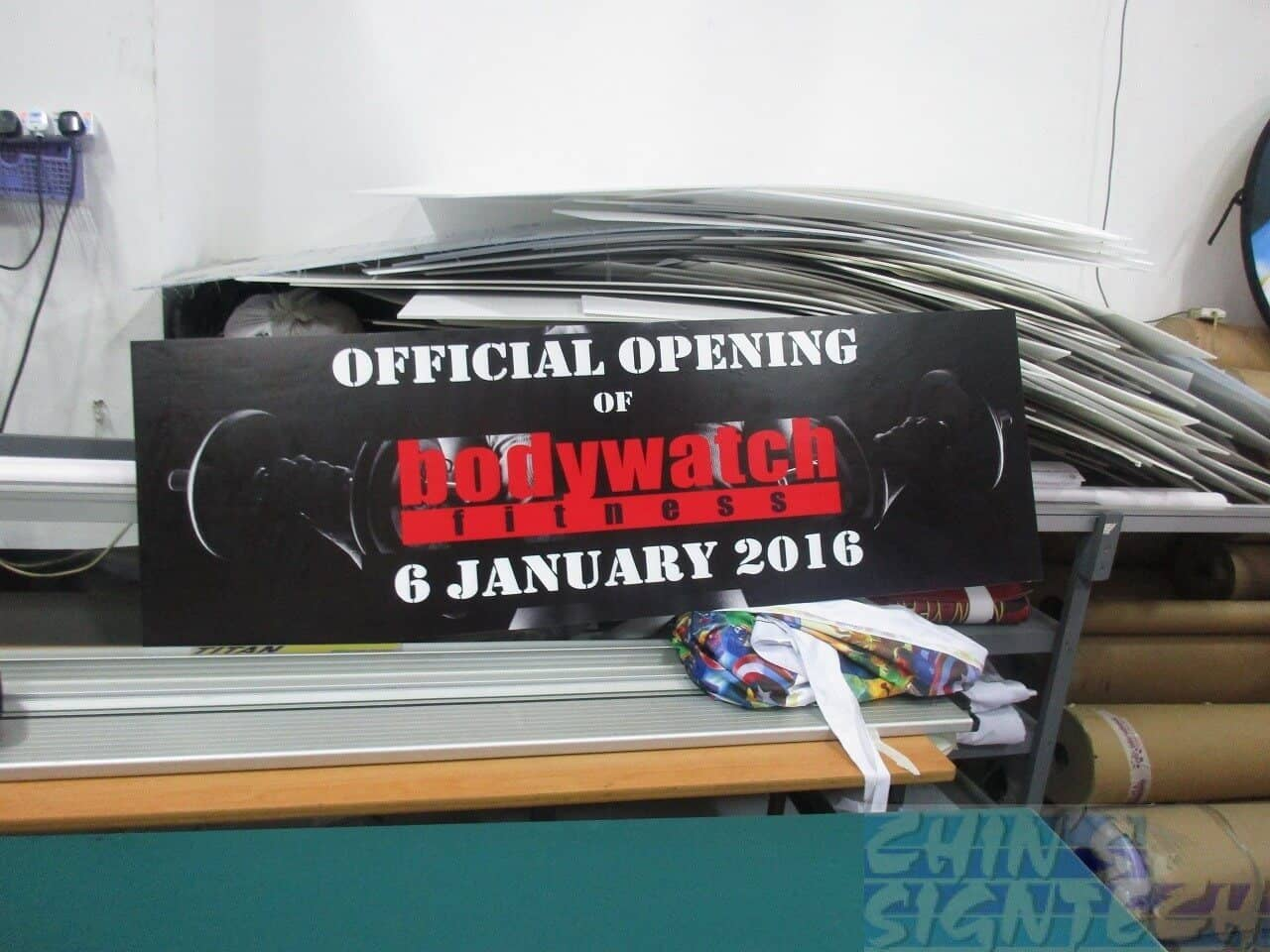 Double sided Foam Board - Official Opening for Body watch Fitness